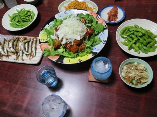 鶏肉のチリソース、ししゃも、枝豆、トマト、トマトバジルサキイカ