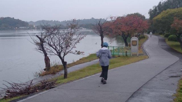 千波湖雨ジョグ