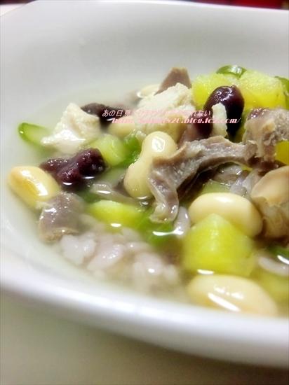 雑穀米とお豆と緑野菜のスープ♪