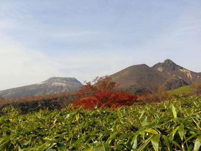 中の大倉尾根から朝日岳、茶臼岳