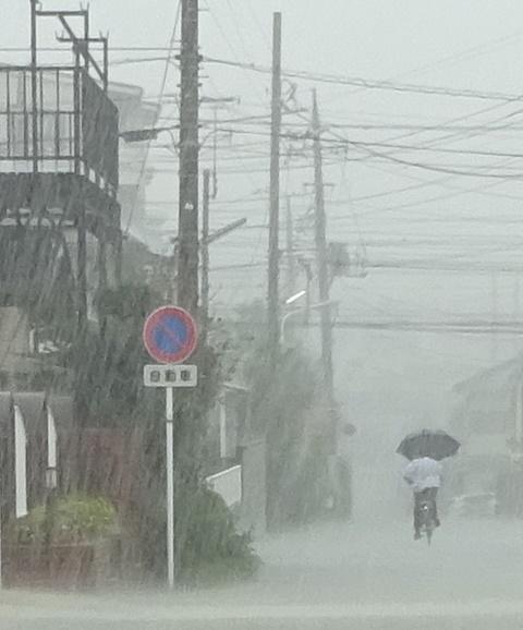 大雨の一シーン