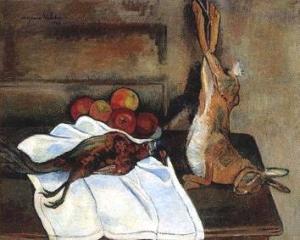 スュザンヌ・ヴァラドン「野兎と雉と林檎のある静物」