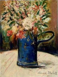 モーリス・ユトリロ「青い花瓶の中の花束」