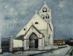 モーリス・ユトリロ「小さな聖体拝授者,トルシ―=アン=ヴァロワの教会(エヌ県)」