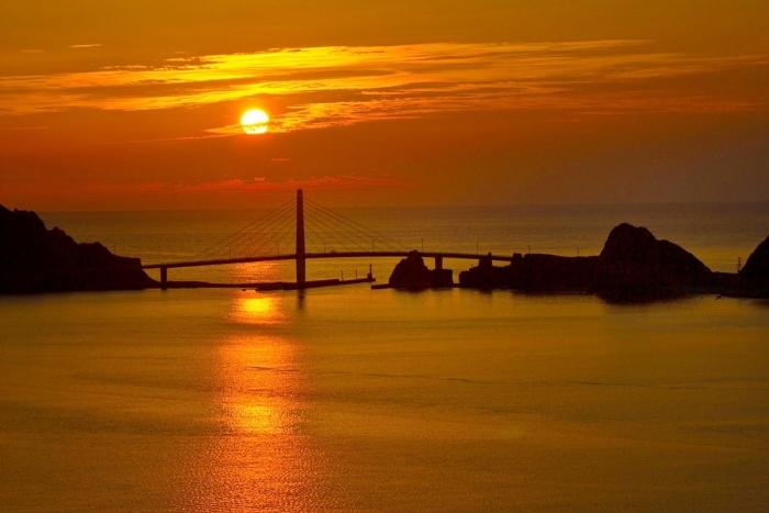 夕陽 大明神橋