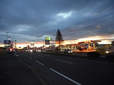 夕日の釧路