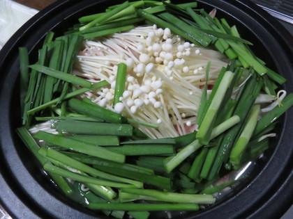 タジン鍋で豚韮もやし鍋