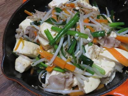 スキレットで豆腐チャンプルー