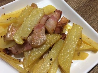 ベーコンとジャガイモの塩胡椒ソテー