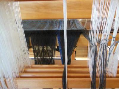 倍幅織りストール 綜絖通し