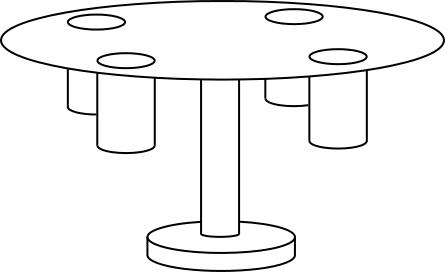 回転テーブルとグラス