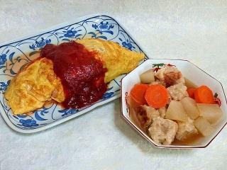 150828_3429野菜と挽肉のオムレツ・シュウマイと根菜の煮物VGA