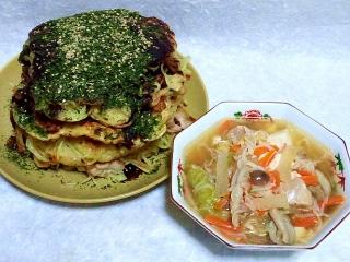 150908_3453モダン焼きx4枚・根菜と鶏肉、カニカマの中華風シチューVGA