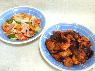 150911_3459野菜炒めx3皿・茄子とシュウマイのケチャップ&チリ炒めVGA