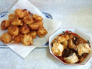 150929_3506海老シュウマイの唐揚げ・茄子と豆腐の挽肉炒めVGA