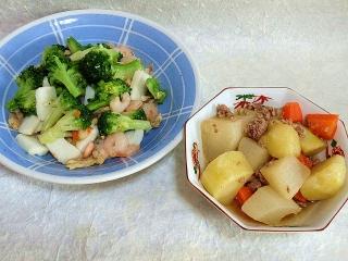 151020_3541ブロッコリーの鶏そぼろ餡・挽肉と根菜の煮物VGA