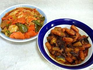 151020_3542野菜のコチュジャン炒め・茄子とウィンナーのカレー炒めVGA