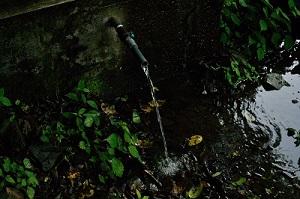 民家脇の水