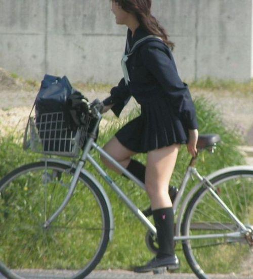 【盗撮画像】ミニスカの女子高生が自転車に乗ってるとパンチラしちゃうよね 39枚 No.6