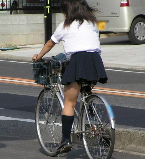 【盗撮画像】ミニスカの女子高生が自転車に乗ってるとパンチラしちゃうよね 39枚 No.7