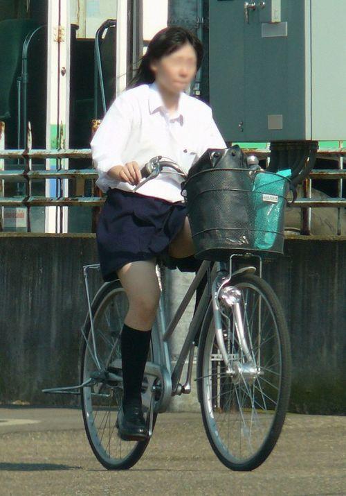 【盗撮画像】ミニスカの女子高生が自転車に乗ってるとパンチラしちゃうよね 39枚 No.12