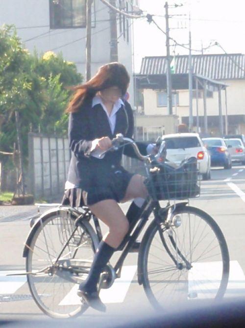 【盗撮画像】ミニスカの女子高生が自転車に乗ってるとパンチラしちゃうよね 39枚 No.16
