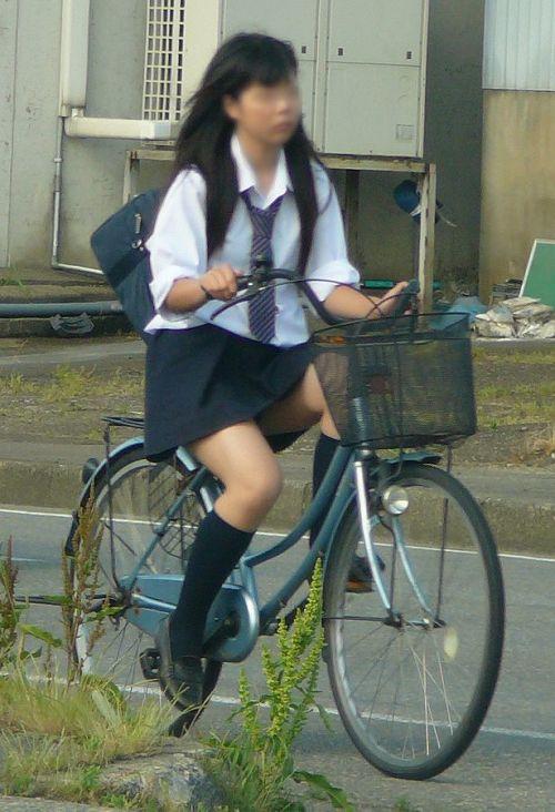 【盗撮画像】ミニスカの女子高生が自転車に乗ってるとパンチラしちゃうよね 39枚 No.38