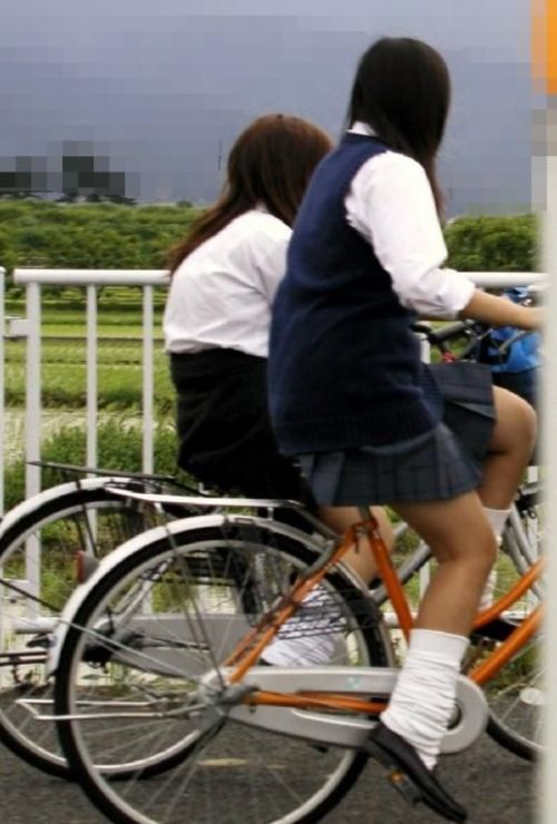 【盗撮画像】ミニスカ女子高生が自転車に乗ると太ももパンチラ見放題 39枚 No.15