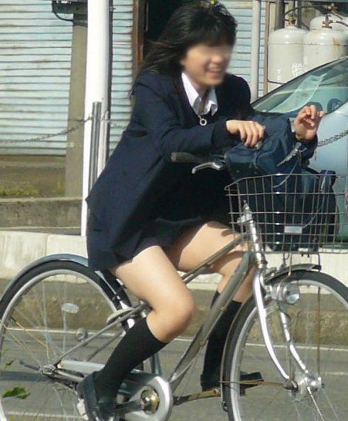 【盗撮画像】ミニスカ女子高生が自転車に乗ると太ももパンチラ見放題 39枚 No.19