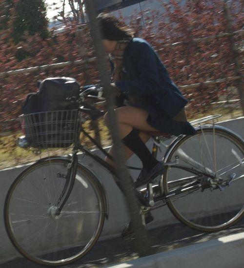 【盗撮画像】ミニスカ女子高生が自転車に乗ると太ももパンチラ見放題 39枚 No.20