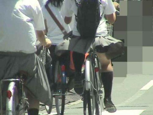【盗撮画像】ミニスカ女子高生が自転車に乗ると太ももパンチラ見放題 39枚 No.21