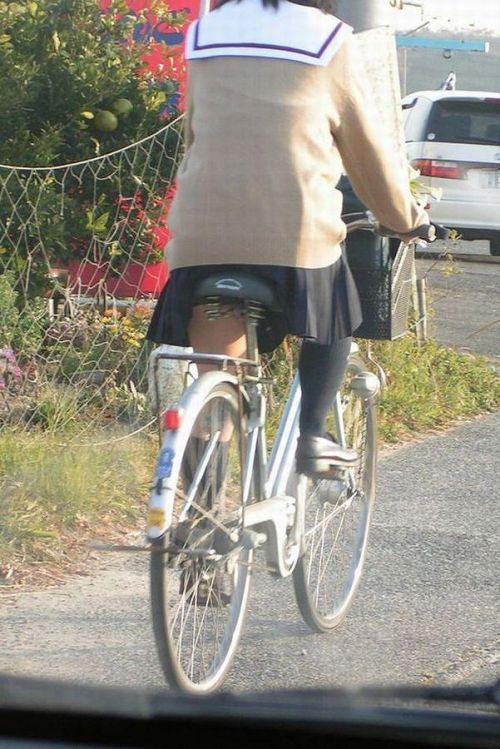 【盗撮画像】ミニスカ女子高生が自転車に乗ると太ももパンチラ見放題 39枚 No.22