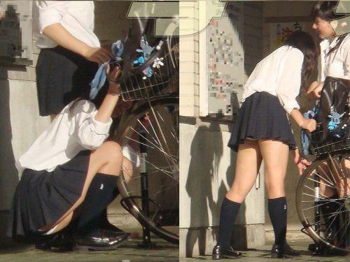 【盗撮】ミニスカからパンチラしちゃうJKの自転車通学エロ画像 43枚 No.1