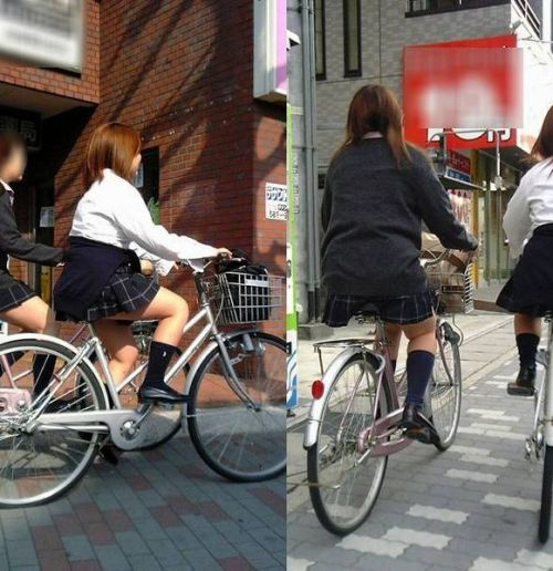 【盗撮】ミニスカからパンチラしちゃうJKの自転車通学エロ画像 43枚 No.40