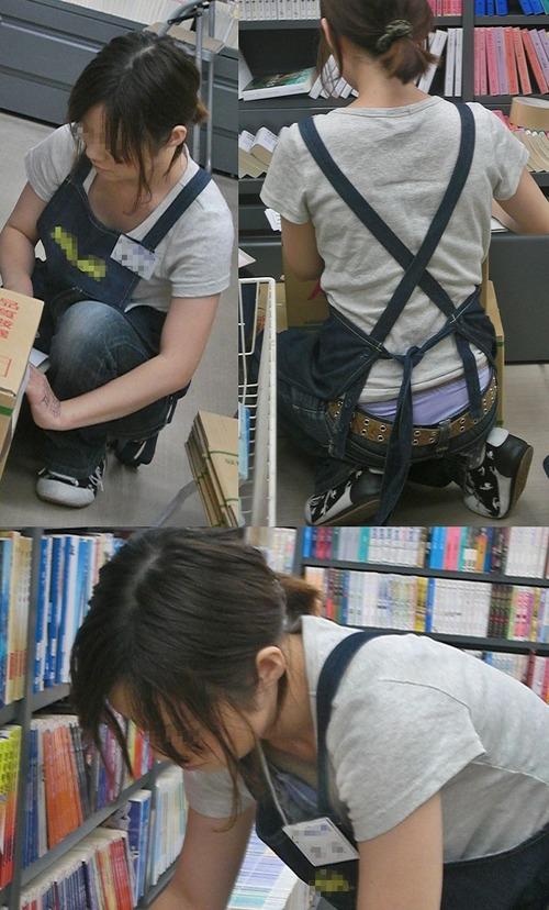 【胸チラ盗撮画像】前傾姿勢の女性!安心してください。見えてますよ! 38枚 No.35