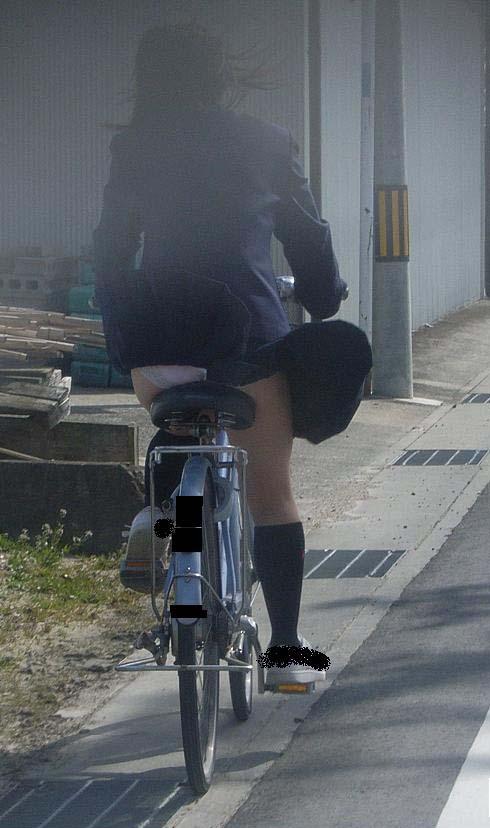 純白パンティも見えちゃうJKの自転車通学画像 41枚 No.3