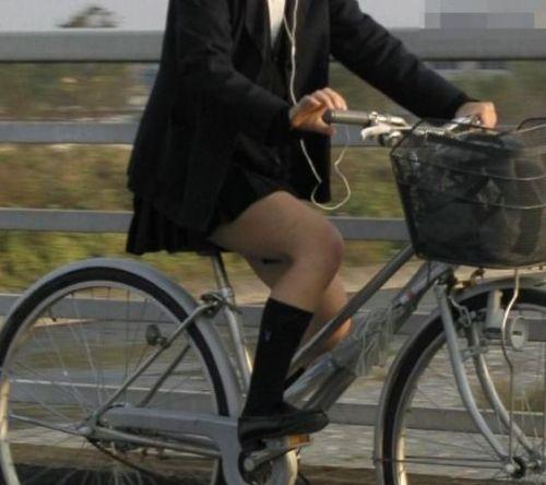 純白パンティも見えちゃうJKの自転車通学画像 41枚 No.40