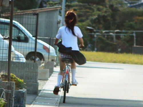 【盗撮画像】ミニスカJKが自転車通学すると当然パンチラしまくるよな 41枚 No.2