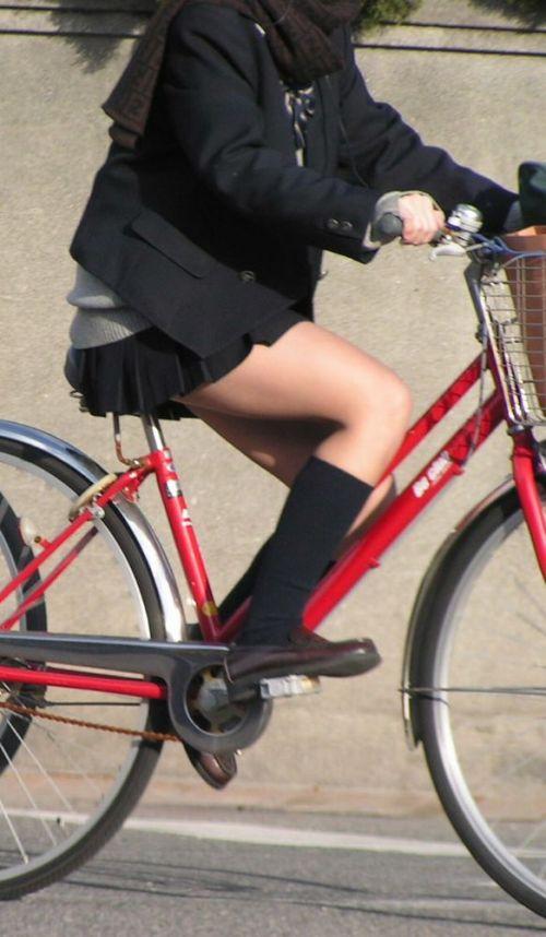 【盗撮画像】ミニスカJKが自転車通学すると当然パンチラしまくるよな 41枚 No.7