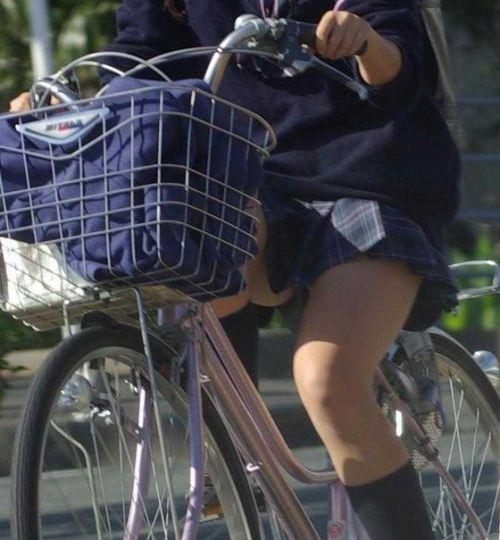 【盗撮画像】ミニスカJKが自転車通学すると当然パンチラしまくるよな 41枚 No.41