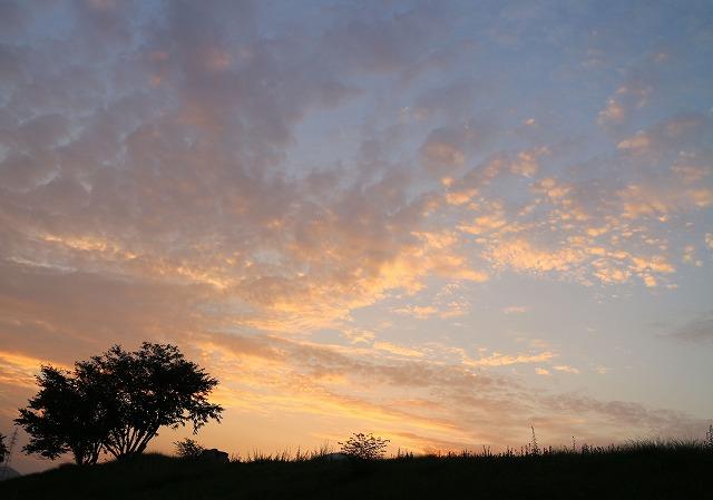 桜と土手と日の出前の空 27.8.28