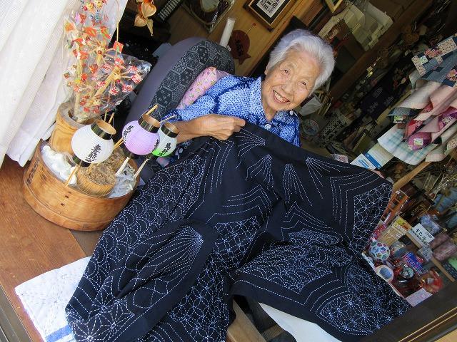 馬籠 薫さん93歳刺子 27.9.28