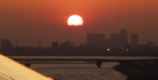 羽田着陸時の夕陽