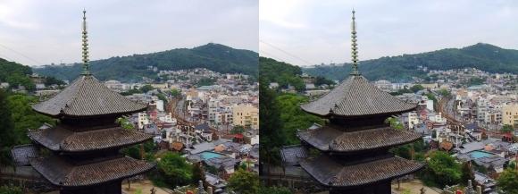 天寧寺三重塔とロープウェイのりば(平行法)