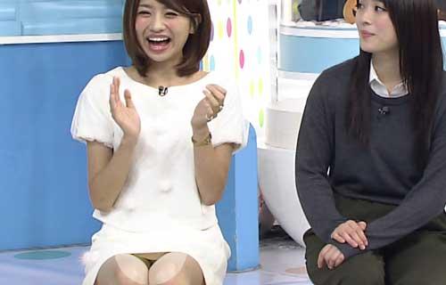 曽田茉莉江 ZIP☆でミニワンピの股間からマン毛が透けてるパンツがマル見えパンツ丸見え
