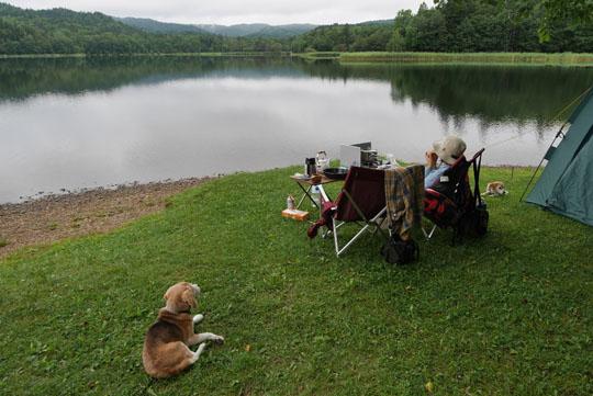 300湖畔で朝食