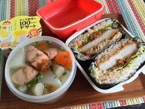 とんかつおにぎらず&秋鮭の三平汁弁当01