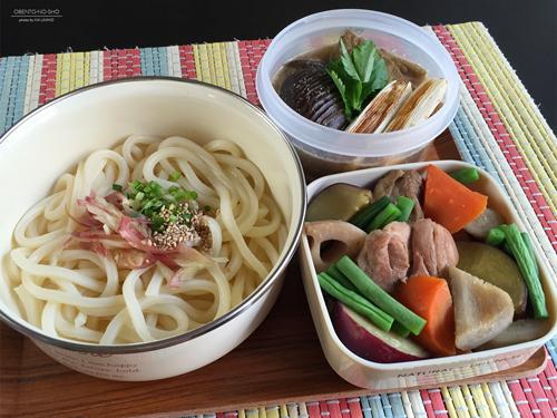 茄子胡麻つけ汁うどん&さつま芋の筑前煮弁当01