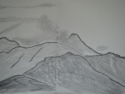 鉛筆描き、陣馬山で