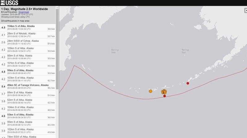 【前兆】アラスカ・アリューシャン列島近海でM3~5クラスの群発地震が30回近くも発生している模様